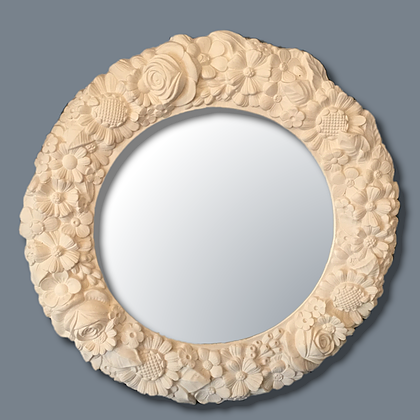 Round ornate floral mirror