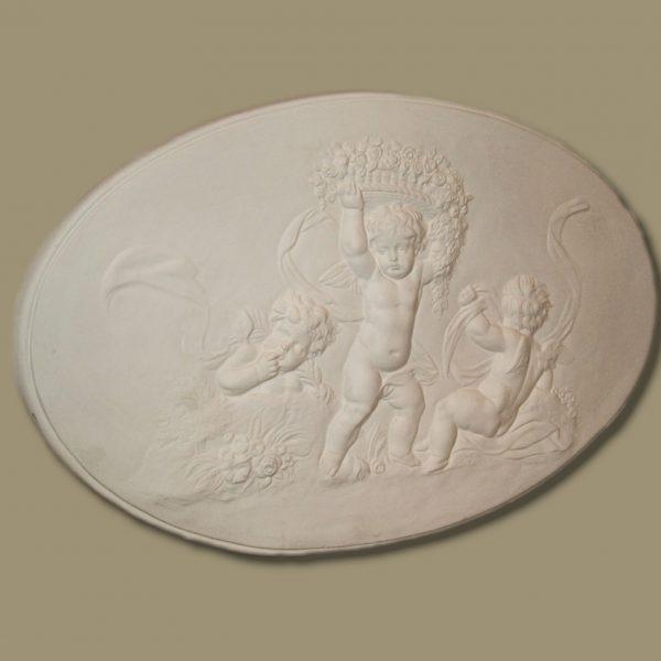 Triple cherub plaque with garland