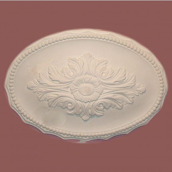 SCALLOPED OVAL WITH LEAF & BEAD CEILING CENTRE CC28 430mm X 310mm