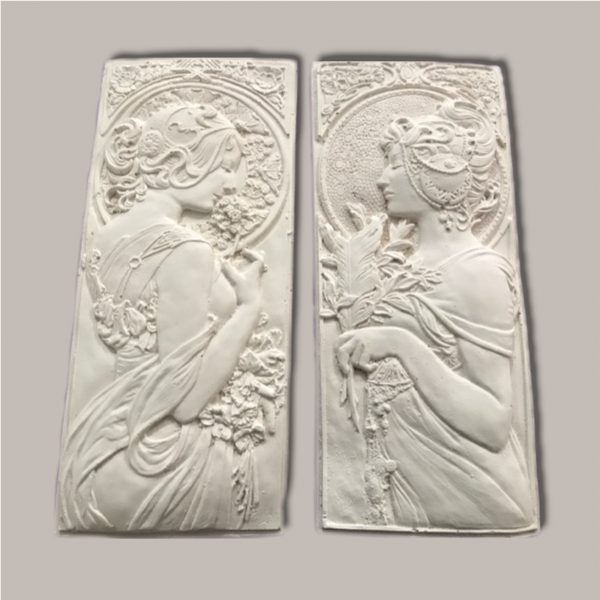 PAIR OF LADY PLAQUES